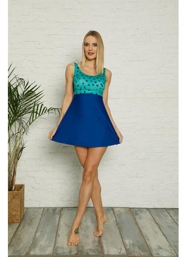 Akbeniz Şortlu Likralı Elbise Tesettür Mayo 28185 Mavi